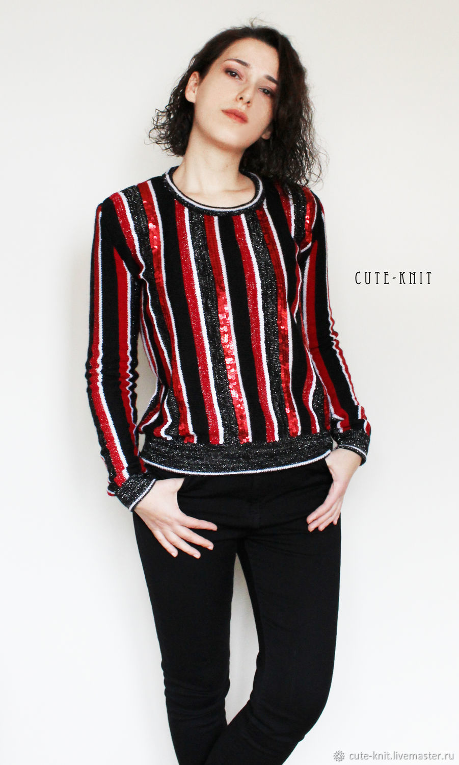 To better visualize the model, click on the photo CUTE-KNIT NAT Onipchenko Fair Masters to Buy women's striped sweater