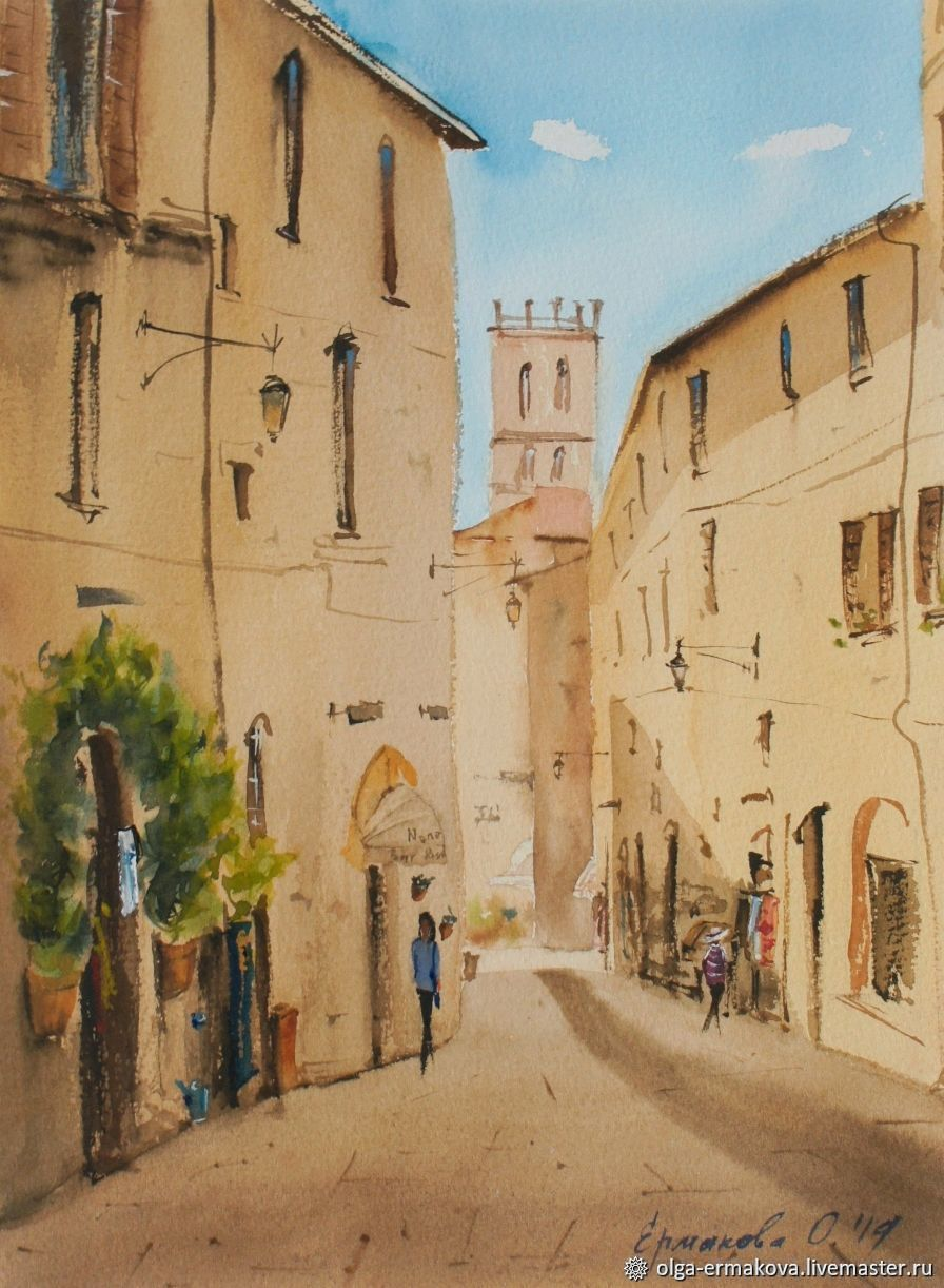 Painting of a city street in Italy landscape, Pictures, Moscow,  Фото №1