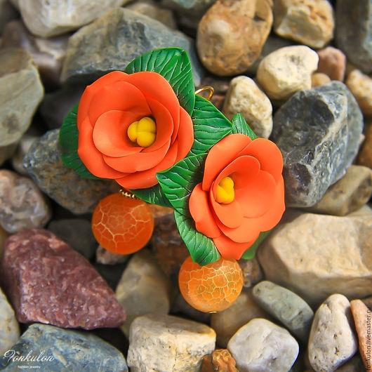 """Серьги ручной работы. Ярмарка Мастеров - ручная работа. Купить Серьги """"Апельсиновый Цвет"""". Handmade. Рыжий, юлия лунтовская"""