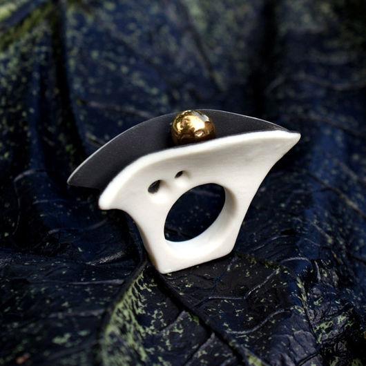 """Кольца ручной работы. Ярмарка Мастеров - ручная работа. Купить Кольцо """"Надежда"""" фарфор. Handmade. Чёрно-белый, современный стиль"""