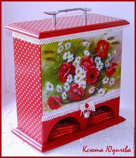 Кухня ручной работы. Ярмарка Мастеров - ручная работа. Купить Чайный домик двойной. Handmade. Ярко-красный, чайная коробка