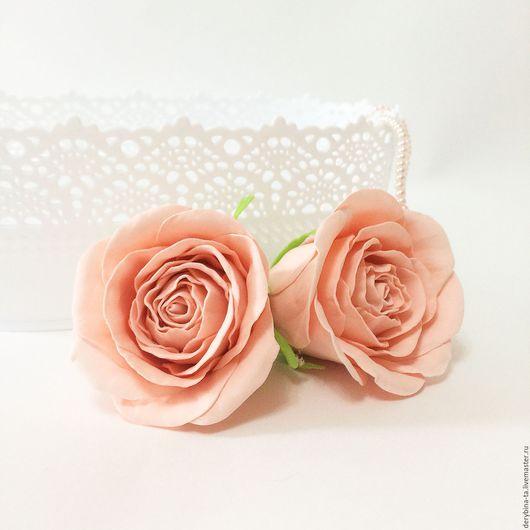Свадебные цветы ручной работы. Ярмарка Мастеров - ручная работа. Купить Персиковая роза из фоамирана. Цветы для свадебного букета. Handmade.