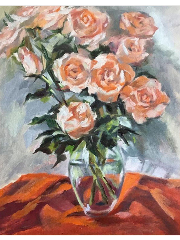 Розы 40*50 масло, Картины, Москва, Фото №1