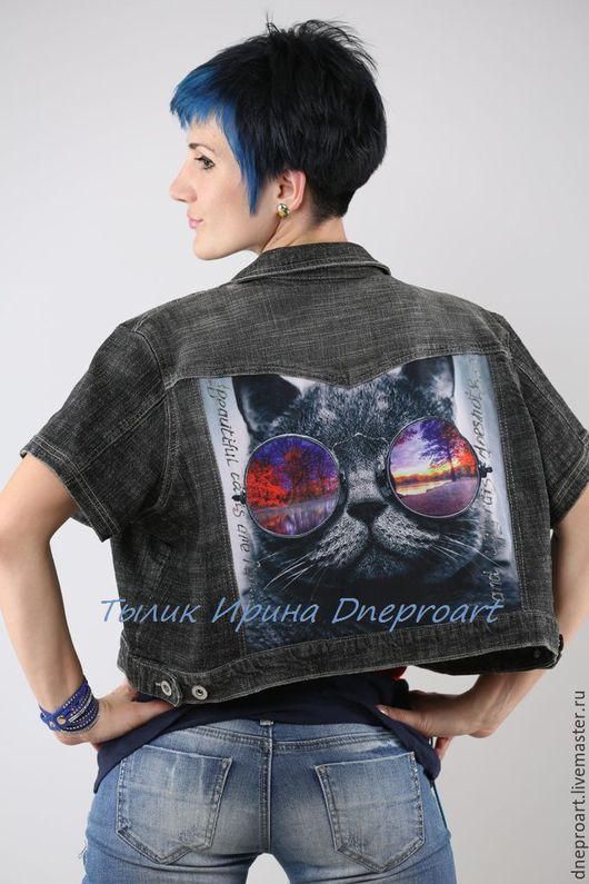 """Верхняя одежда ручной работы. Ярмарка Мастеров - ручная работа. Купить Джинсовая куртка""""Кот в очках"""". Handmade. Темно-серый"""