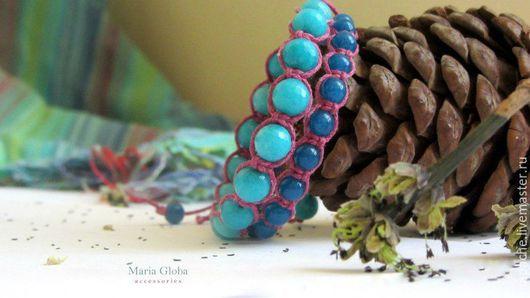 Браслеты ручной работы. Ярмарка Мастеров - ручная работа. Купить Комплект браслетов. Handmade. Тёмно-бирюзовый, синий, яркий браслет