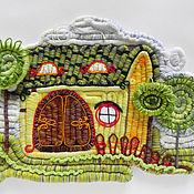 """Картины и панно ручной работы. Ярмарка Мастеров - ручная работа панно """"Сказочный домик"""". Handmade."""
