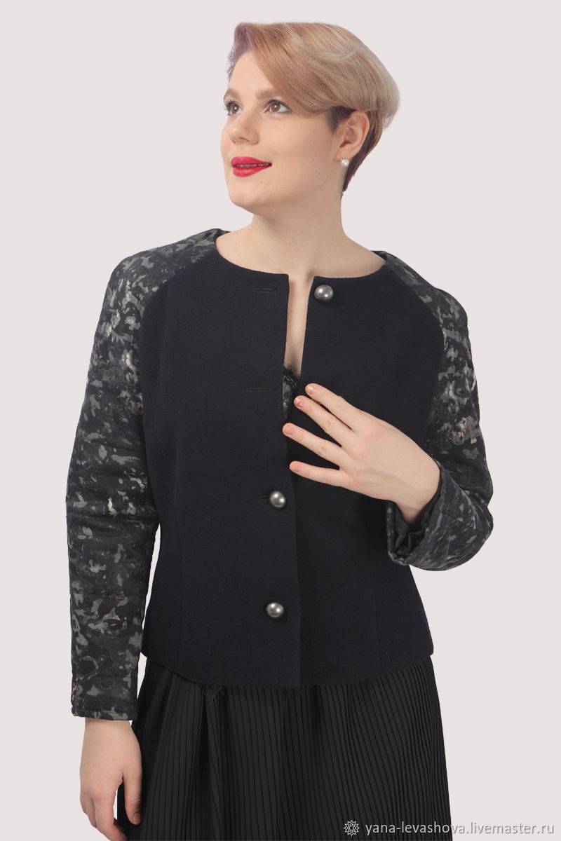 Coat grey black short autumn wool, Coats, Moscow,  Фото №1