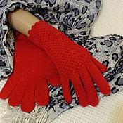 Аксессуары ручной работы. Ярмарка Мастеров - ручная работа Перчатки вязаные красные. Handmade.