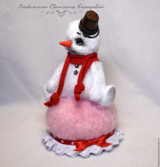 Вязание ручной работы. Ярмарка Мастеров - ручная работа. Купить Снеговик игольница. Handmade. Комбинированный, Камтекс хлопок травка