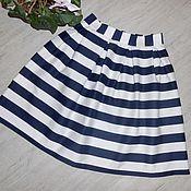 Одежда ручной работы. Ярмарка Мастеров - ручная работа Юбка в полоску из сатина / юбка в складку. Handmade.