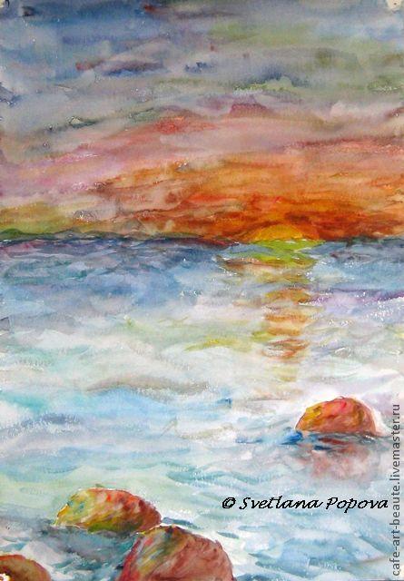 Пейзаж ручной работы. Ярмарка Мастеров - ручная работа. Купить Акварельные сны.... Handmade. Море, камни, закат, морской пейзаж
