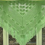 Аксессуары handmade. Livemaster - original item Shawl knitted Theon 200x150x150 light green crochet fringe #170. Handmade.