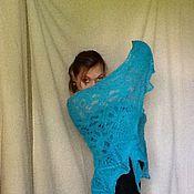 Аксессуары ручной работы. Ярмарка Мастеров - ручная работа Шаль Перси- бирюзовый цветок. Handmade.