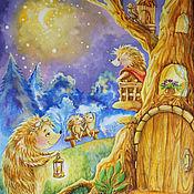 """Картины и панно ручной работы. Ярмарка Мастеров - ручная работа Картина акварелью """"Звездная ночь"""".. Handmade."""