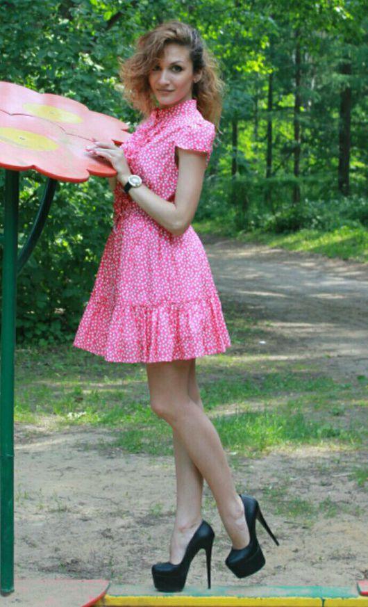 Платья ручной работы. Ярмарка Мастеров - ручная работа. Купить Летнее платье-рубашка Долли. Handmade. Фуксия, платье в горошек