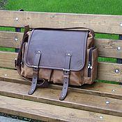 Сумки и аксессуары handmade. Livemaster - original item Men`s leather messenger bag SAFARI sand-cognac color. Handmade.