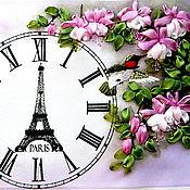 Картины и панно ручной работы. Ярмарка Мастеров - ручная работа Картина - основа под часы Весна в Париже, вышивка лентами. Handmade.