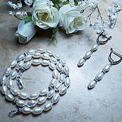 Украшения handmade. Livemaster - original item White pearl necklace and earrings