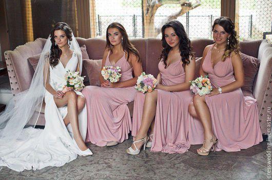 Платье трансформер в пол цвет пудра (платья для подружек невесты идеальное решение на свадьбу) Все размеры от детских до 60р От 3-х единиц бабочки для друзей жениха -БЕСПЛАТНО!!! Цена всего 2900р