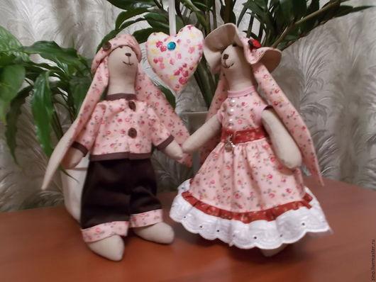 Куклы Тильды ручной работы. Ярмарка Мастеров - ручная работа. Купить Антошка и Маргоша. Handmade. Бледно-розовый, лён