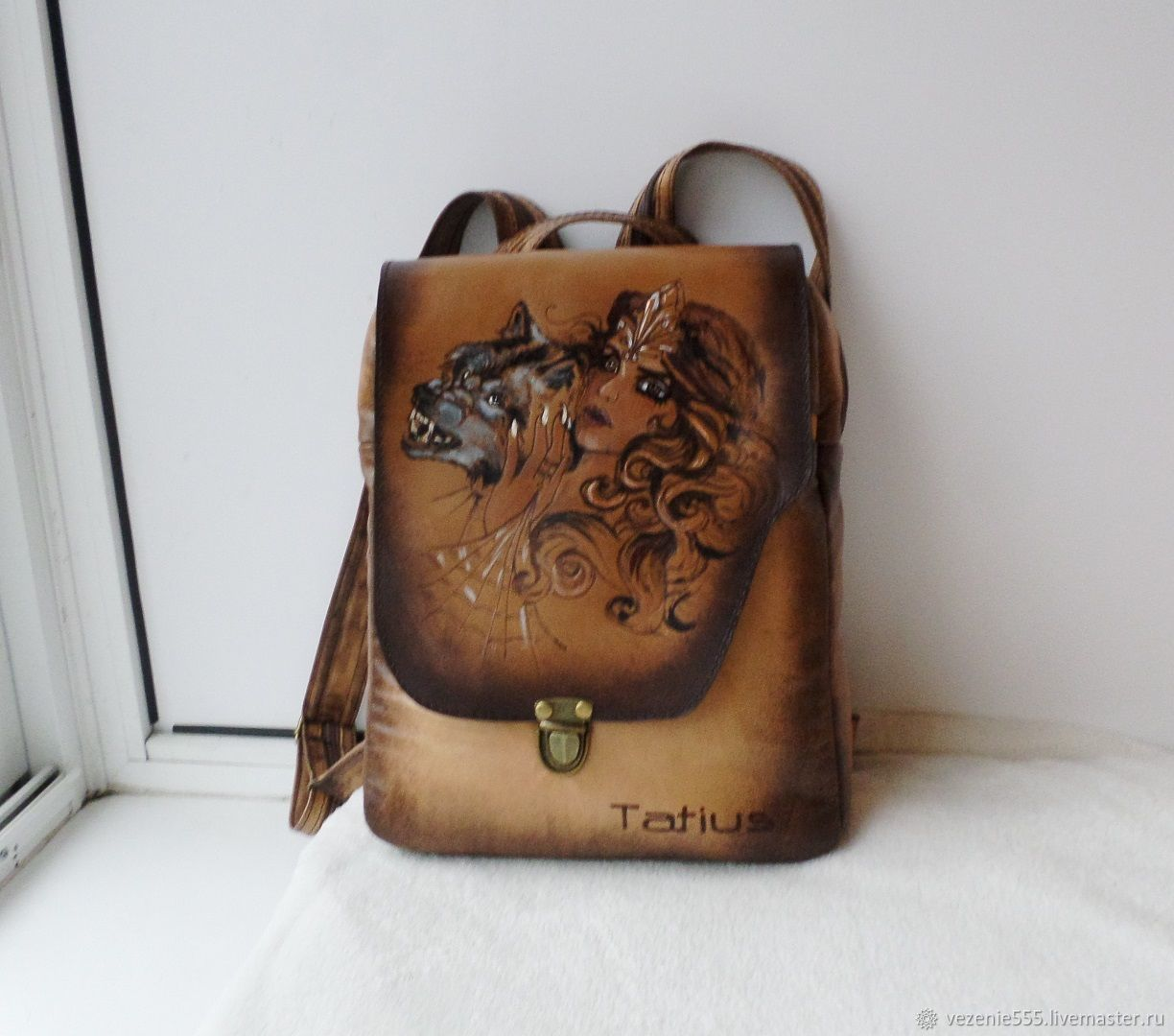 Leather backpack with engraving and painting to order, Backpacks, Noginsk,  Фото №1