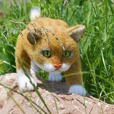 Куклы и игрушки ручной работы. Ярмарка Мастеров - ручная работа Войлочный рыжий кот.. Handmade.