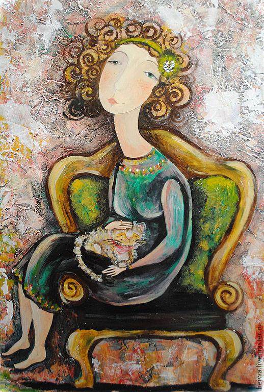 """Шкатулки ручной работы. Ярмарка Мастеров - ручная работа. Купить """"В любимом кресле"""" (репродукция). Handmade. Зеленый, Девушка с котом"""
