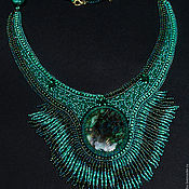Украшения handmade. Livemaster - original item Bead embroidery necklace `Malachite` with foxit green stylish jewelry. Handmade.