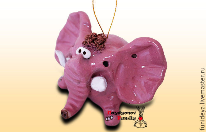 Колокольчики ручной работы. Ярмарка Мастеров - ручная работа. Купить Слон, керамический колокольчик. Слон колокольчик. Слон из глины. Handmade.