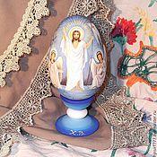 Сувениры и подарки handmade. Livemaster - original item Easter egg painting Jesus Christ with angels. Handmade.