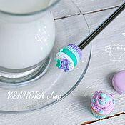 """Посуда ручной работы. Ярмарка Мастеров - ручная работа Вкусная чайная ложка """"Мини капкейк мятно-фиолетовый с цветами"""". Handmade."""