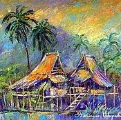 """Картины и панно ручной работы. Ярмарка Мастеров - ручная работа Картина Таиланд """"Тропический Вечер"""". Handmade."""