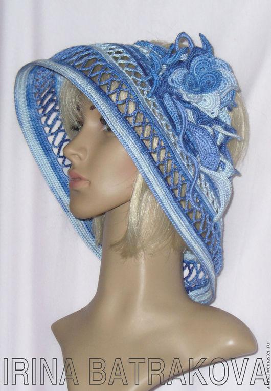 Шляпы ручной работы. Ярмарка Мастеров - ручная работа. Купить Шляпа летняя. Handmade. Синий, шляпа ажурная