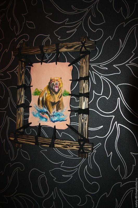 Животные ручной работы. Ярмарка Мастеров - ручная работа. Купить Панно из натуральной кожи Медведь. Handmade. Комбинированный, рыбалка