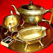 Винтаж ручной работы. Ярмарка Мастеров - ручная работа Английский кофейный набор 3 предмета глубокое серебрение  Англия. Handmade.