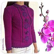 Одежда ручной работы. Ярмарка Мастеров - ручная работа Свитер женский Орхидея, фиолетовый, 100% шерсть экстра. Handmade.
