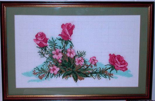 Картины цветов ручной работы. Ярмарка Мастеров - ручная работа. Купить Роза. Handmade. Мулине, канва, нитки