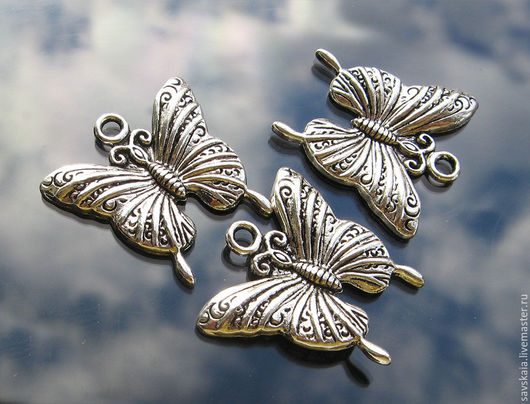 Подвеска `Бабочка с узором`, античное серебро, 24.0мм x 23.0мм