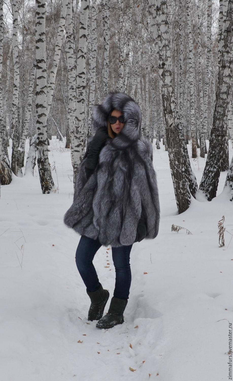 Poncho fur black brown (silver) Fox hooded, Fur Coats, Omsk,  Фото №1