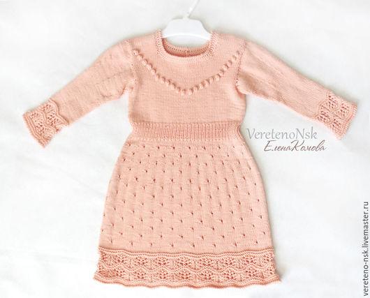 """Одежда для девочек, ручной работы. Ярмарка Мастеров - ручная работа. Купить Вязаное платье из мягкого хлопка для малышки """"Ароматный абрикос"""". Handmade."""