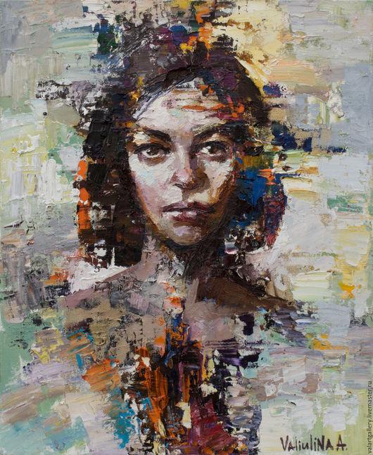 Люди, ручной работы. Ярмарка Мастеров - ручная работа. Купить Портрет девушки. Handmade. Комбинированный, декоративный потрет, текстурная живопись
