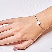 Украшения handmade. Livemaster - original item Chain bracelet with a heart of mother-of-pearl. Handmade.