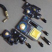 Украшения handmade. Livemaster - original item Necklace SKY OVER THE CITY of pearls, beads, swarovski, chip, leather. Handmade.