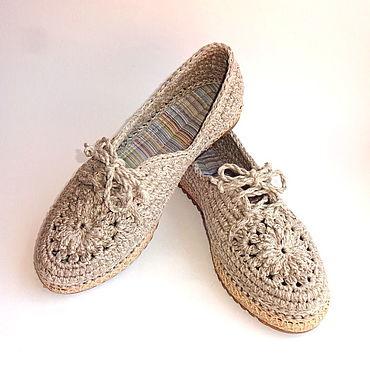Обувь ручной работы. Ярмарка Мастеров - ручная работа Мокасины вязаные Lady G, серый хлопок. Handmade.