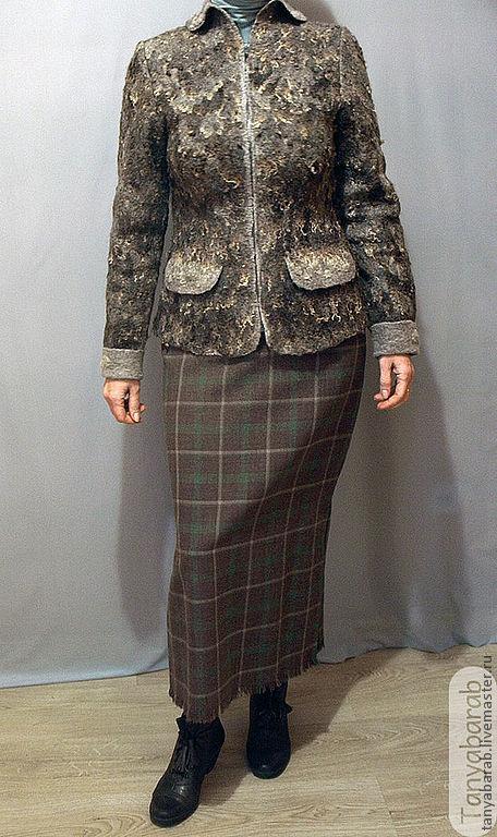 """Пиджаки, жакеты ручной работы. Ярмарка Мастеров - ручная работа. Купить Жакет """" Серая шейка"""". Handmade. Темно-серый"""