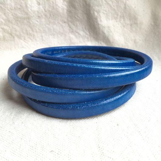 Для украшений ручной работы. Ярмарка Мастеров - ручная работа. Купить Шнур кожаный регализ синий. Handmade. Регализ