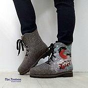 """Ботинки ручной работы. Ярмарка Мастеров - ручная работа Валяные ботинки""""Снегири"""". Handmade."""