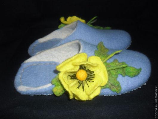 Обувь ручной работы. Ярмарка Мастеров - ручная работа. Купить Тапочки женские войлочные. Handmade. Голубой, Тапочки ручной работы