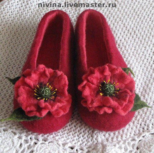 """Обувь ручной работы. Ярмарка Мастеров - ручная работа. Купить тапочки """"маки розовые"""". Handmade. Бордовый, тапочки домашние"""