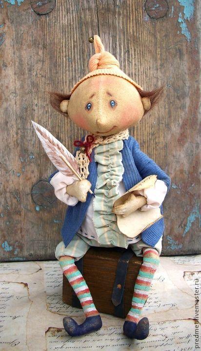 Коллекционные куклы ручной работы. Ярмарка Мастеров - ручная работа. Купить Сказочник. Handmade. Сказочник, человечек, перо, бубенчик
